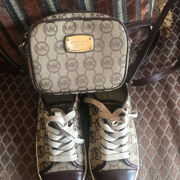 Michael Kors Brown Shoes With Mk Purse